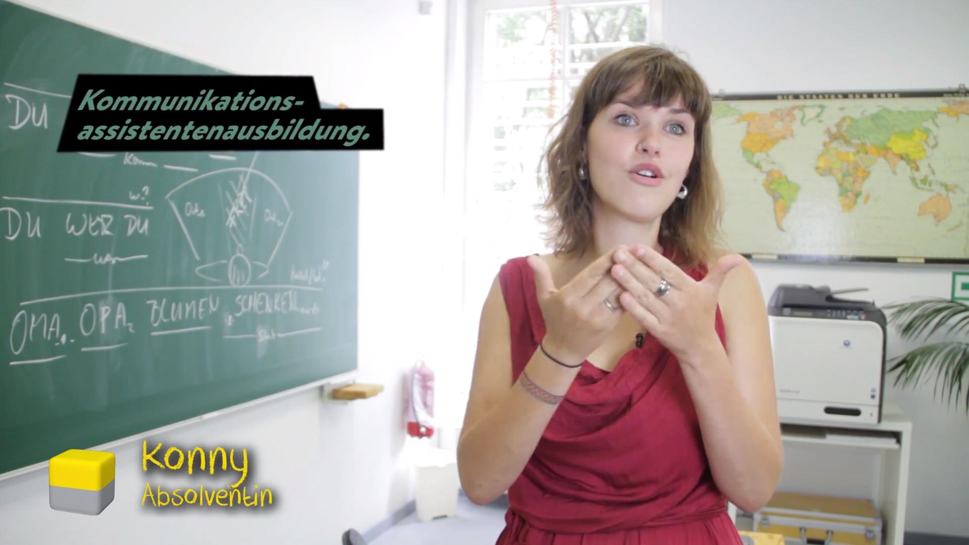 Werbung für eine Gebärdensprachschule
