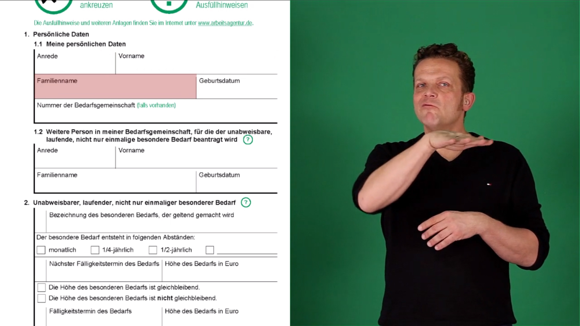 Jobcenterformulare in deutscher Gebärdensprache